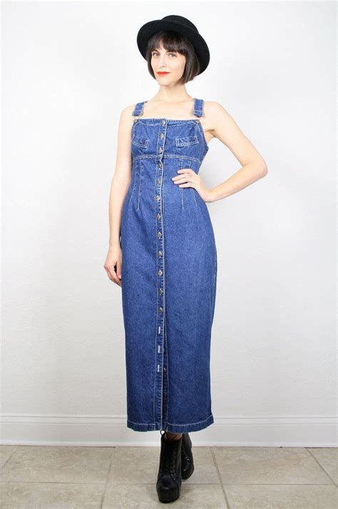 vintage overalls dress blue denim dress blue jean dress overall maxi dress jumper dress wiggle