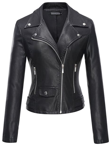 leather jacket womens black slim fit asymmetrical leather jacket
