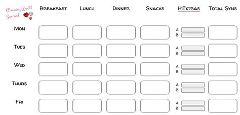 blank meal planner app syn tracker and weekly food diary or planner for slimming
