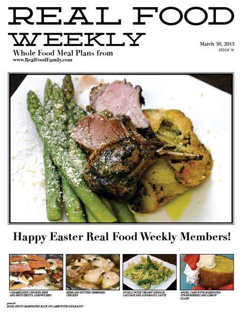 march 30 2013 meal plan easter week real food family