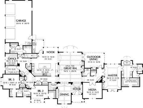 one story luxury home floor plans satisfying single story 6942am 1st floor master suite