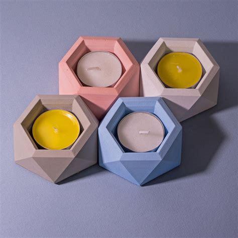 tea light holders geometric concrete tea light holders interior design ideas