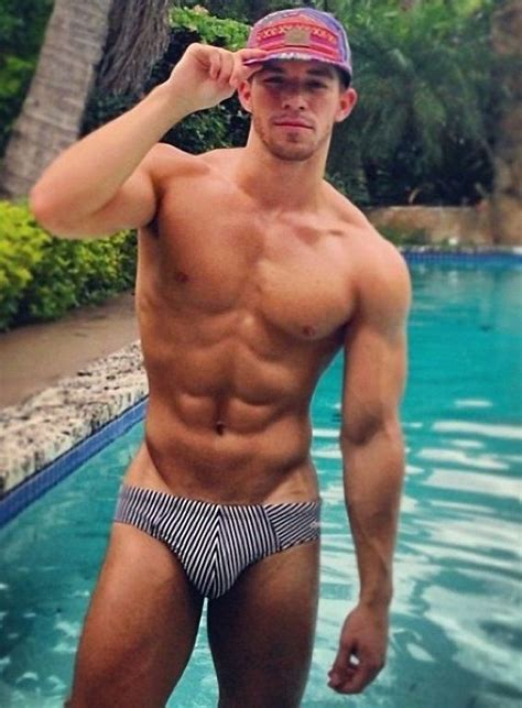 shirtless male beefcake muscular wet pool boy speedo hunk stripe speedo i m a puddle in the floor pinterest