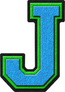 presentation alphabets light blue green varsity