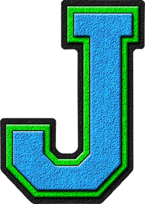 Letter J Images presentation alphabets light blue green varsity