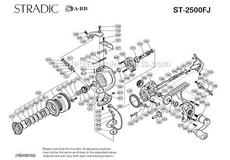 shimano stradic parts diagram shimano st 2500fj parts list and diagram