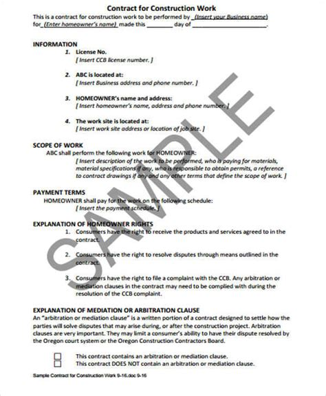 contract for work to be performed template 6 contract sles templates pdf doc