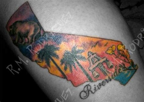 riverside tattoo on my calf california california palm tree s