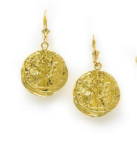 18 karat gold coin earrings reproduced from 16th century