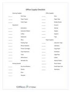 office supply checklist