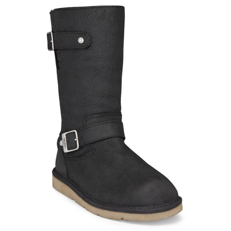 black ugg boots ugg australia kensington black biker boots footwear from