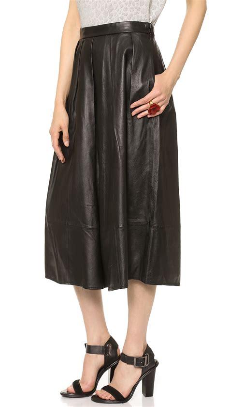 tibi leather skirt black in black lyst