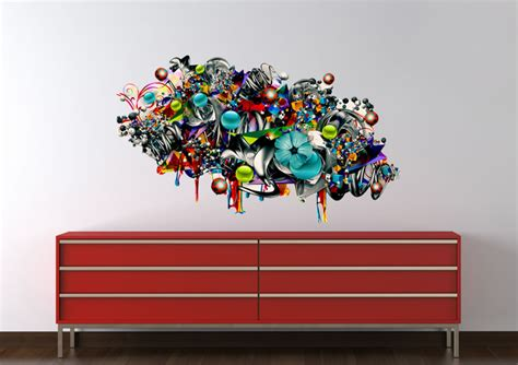 graffiti stickers for walls flower bubbles printed wall sticker