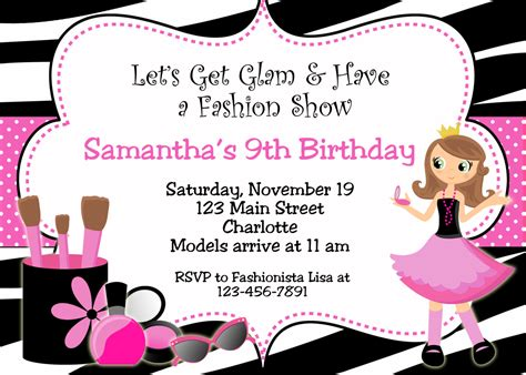 fashion invitation card template free printable fashion show birthday invitations