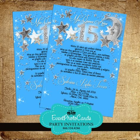 quinceanera themes moons and stars stars moon blue quinceanera invitations