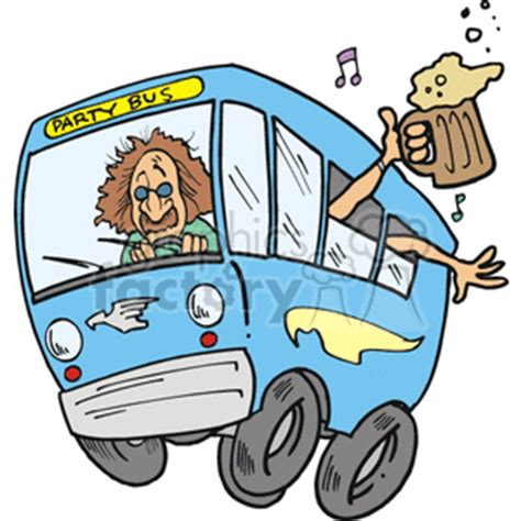 party bus clipart royalty free blue party bus with people hanging out of the
