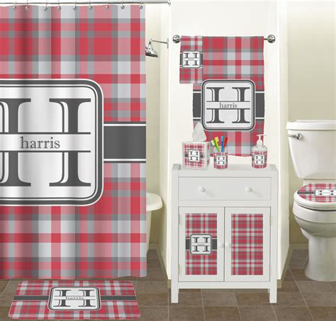 red grey bathroom red gray plaid shower curtain personalized potty