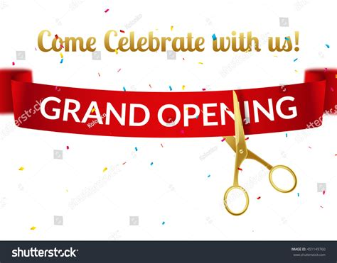 Grand Opening Card Template by Grand Opening Design Template Ribbon Scissors Stock Vector