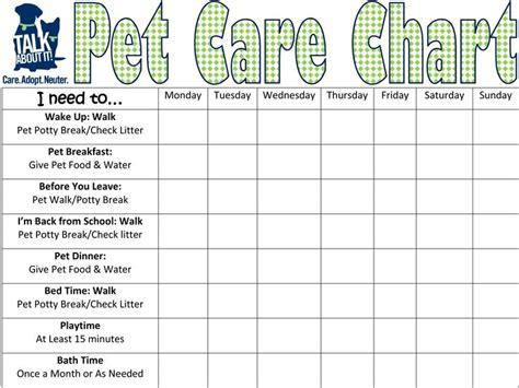 Pet Care Requirement 5 Keep A Chart For Two Weeks Listing All The Required Care You Give To Cat Feeding Schedule Template