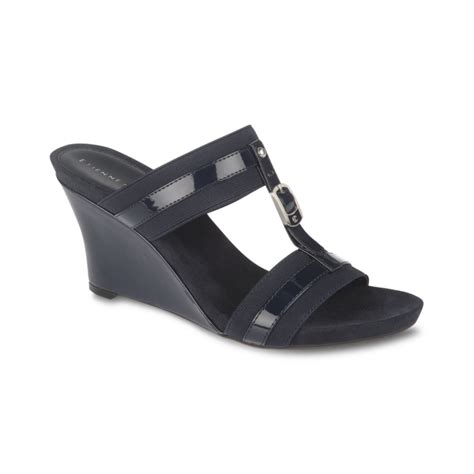 aigner sandals etienne aigner whitcomb wedge sandals in black navy lyst
