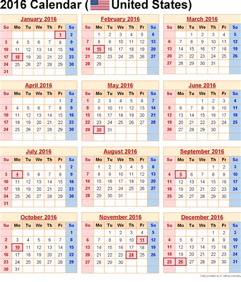 Calendars With Us Holidays 2016 Calendar With Us Holidays