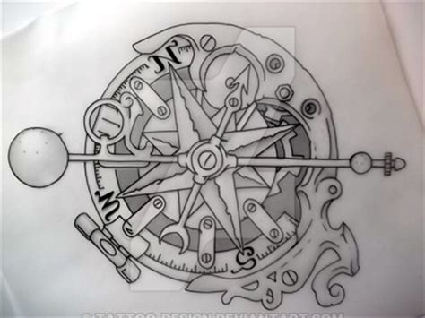steampunk compass outline by tattoo design on deviantart