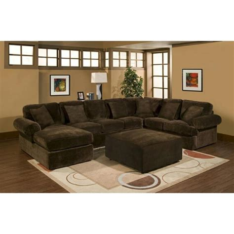 Plush Sectional Sofas 3 Pc Sectional Sofa With Chocolate Plush Velour Microfiber
