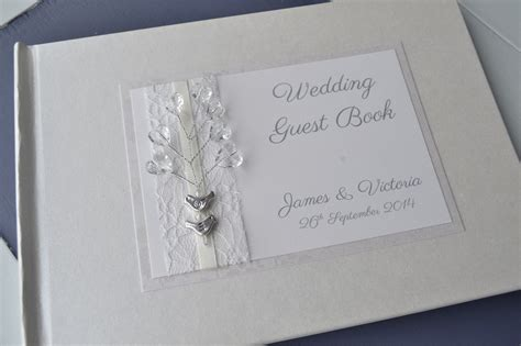 picture guest book wedding birds orginal design ivory personalised wedding