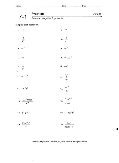 Zero And Negative Exponents Worksheet Answers