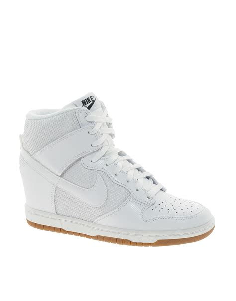 Nike Wedges White nike dunk sky high mesh white wedge trainers in white lyst