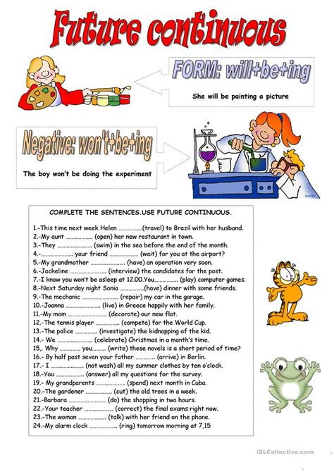 pattern of future continuous tense future continuous worksheet free esl printable