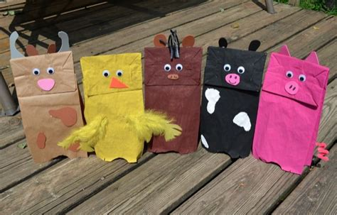 Brown Paper Bag Crafts For Preschoolers - farm themed brown paper bag puppets for preschool