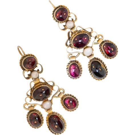 Antique Garnet Earrings Austro Hungarian Gold Washed Garnet Chandelier Earrings