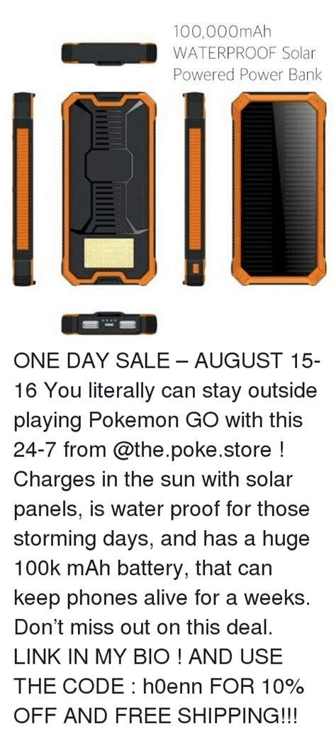 Power Bank Solar 100 000 Mah 100000mah waterproof solar powered power bank one day sale august 15 16 you literally can stay