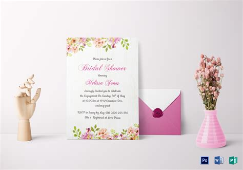 templates for bridal shower floral bridal shower invitation card design template in