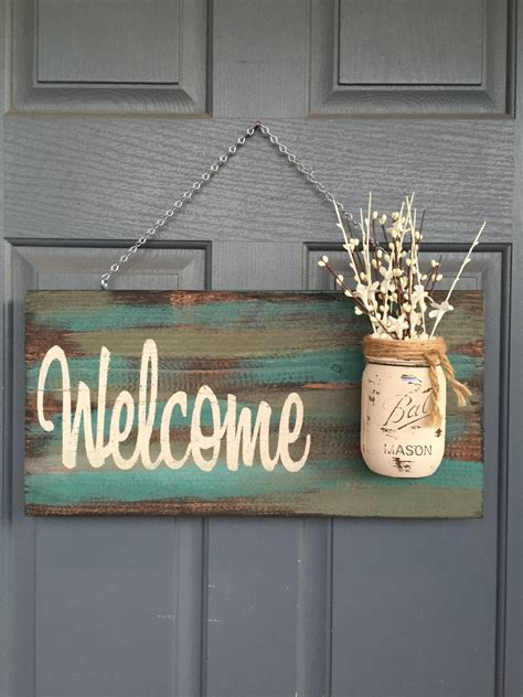 wood signs home decor rustic blue green welcome outdoor decor signs home by