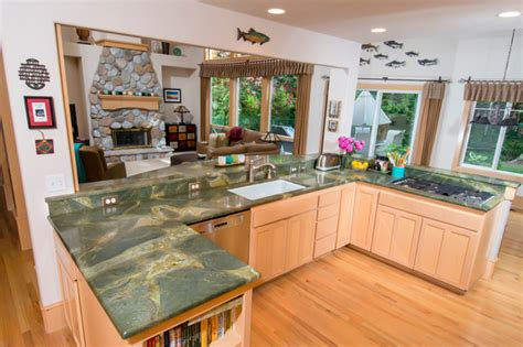 Kitchen Countertops Seattle Green Lightning Granite Countertop Contemporary Kitchen Seattle By Pros Marble And