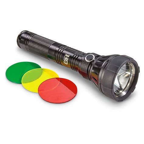 hq issue flashlight 750 lumens 3 colored lenses 654237