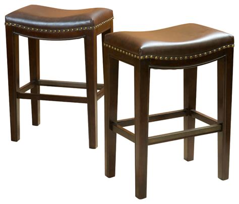 leather bar stools counter height jaeden backless stools set of 2 brown leather counter