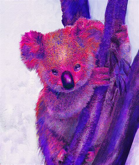 Duvet Cover Modern Purple Koala Digital Art By Jane Schnetlage
