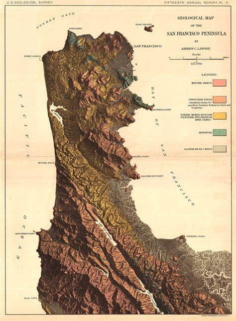 san francisco geological map geological map of san francisco peninsula by andrew c