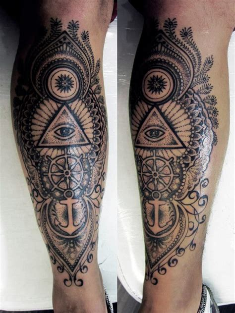 mens leg tattoo with anchors and cool shading leg