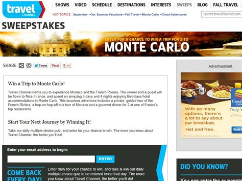 Television Sweepstakes - travel channel september 2013 sweepstakes