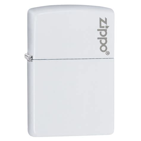 Zippo Lighter Matte white matte with zippo logo official zippo shop uk