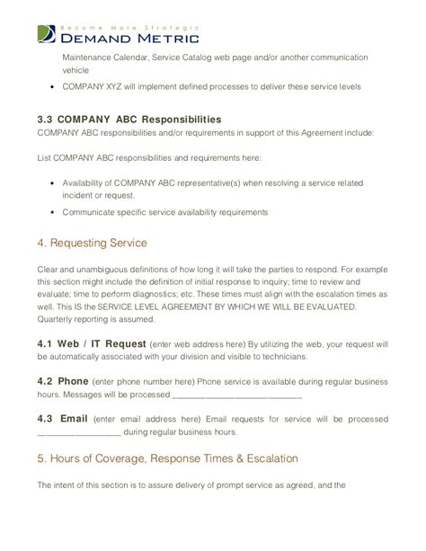 support sla template it support service level agreement template khafre