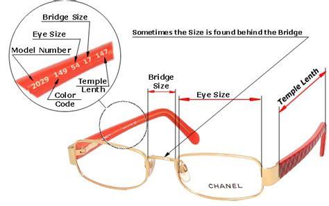 eyeglasses size chart glass eye