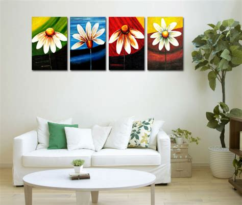 4 panels set multi color background flower picture canvas print painting mural home