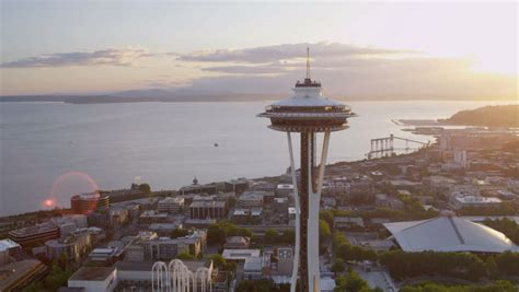 seattle july  aerial close  sun flare view