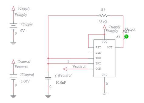 voltage controlled oscillator resistors 555 timer reset test rc multisim live