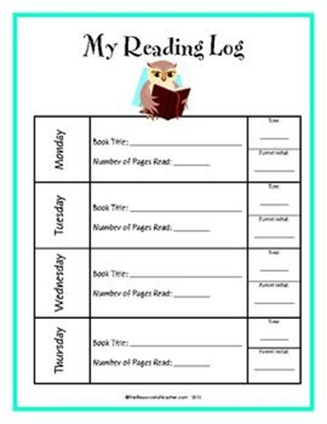 weekly reading log students student parents